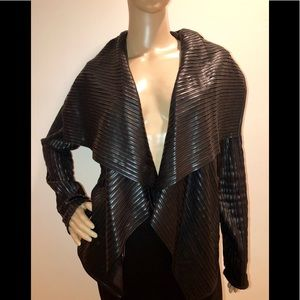 Bagatelle Black Faux Leather Jacket/Cardigan Sz S